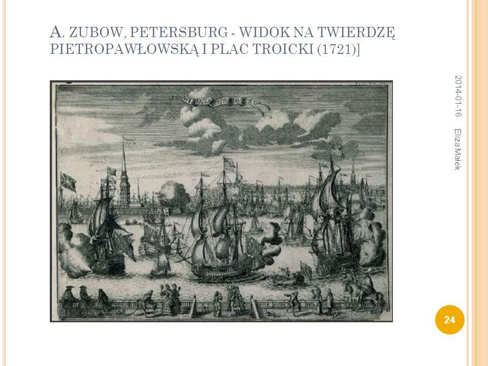 А. ZUBOW, PETERSBURG - WIDOK NA TWIERDZĘ PIETROPAWŁOWSKĄ I PLAC TROICKI (1721)]